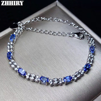 ZHHIRY Wome Natural Blue Tanzanite Bracelet Genuine Solid 925 Sterling Silver Colour Gemstone Fine Jewelry