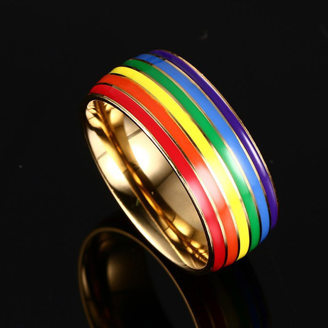 Luxury Rainbow Titanium Ring Gold Plate Stainless Steel Rings For Women Men LGBT Lovers Jewelry Drop Shipping Homosexual Bagues
