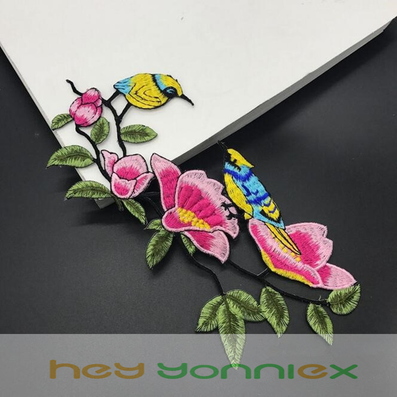 Birds Badge Fabric Embroidery Iron on Patches Sticker Clothes Cheongsam Applique