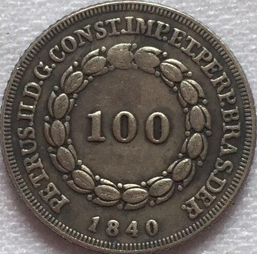 1840 Бразилия 100 Reis Монеты Скопируйте Бесплатная доставка