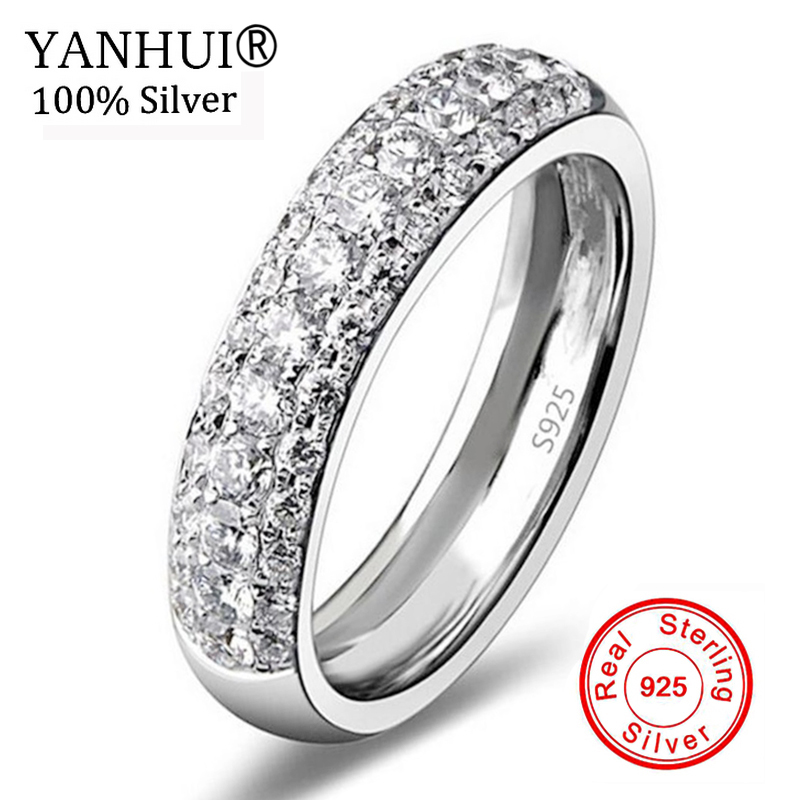 YANHUI Luxury Three Row Clear Crystal Real 925 Silver Wedding Rings Fine Jewelry Made with Genuine CZ Crystals Full Size LR037