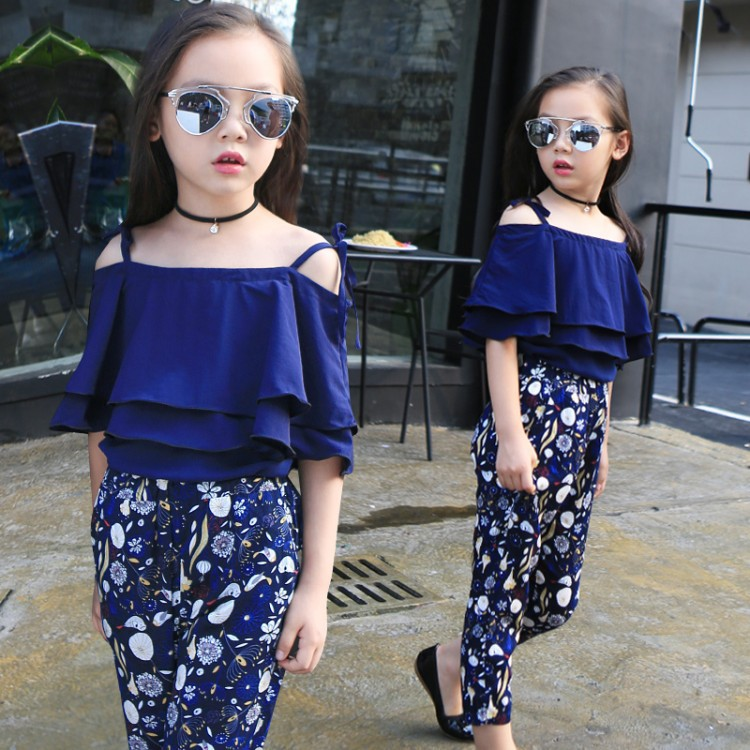 2018 Girls Sets Clothes Kids Fashion Tops Floral Pants Two Piece Set Children Summer Suit Girls Outfits 4 8 9 10 11 12 13Years random floral print tie front two piece outfits in blue
