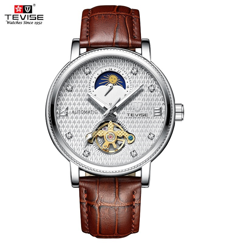 ab143868887 TEVISE T612 Automatische Uhr Mann Mond Phase Leucht Mechanische Armbanduhren  Tourbillon Mode Armbanduhr für Männer zegarek meski