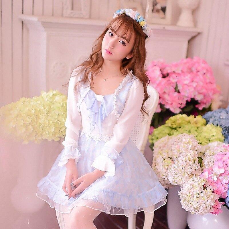 734c97d61f Princesa dulce lolita vestido de Caramelo lluvia de primavera otoño estilo  palacio grande arco chiffon de manga Larga Fake dos piezas vestido C15CD5854