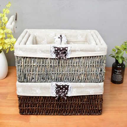 Palha de armazenamento cesta de vime cesta de armazenamento de desktop couro milho mão-tecido caixa de armazenamento de pano