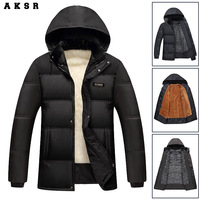 AKSR Large Size Men's Clothing Medium and Long Section, Plus Velvet Thickening, Cotton Coat, Men's Jacket Cold Resistant Outdoor