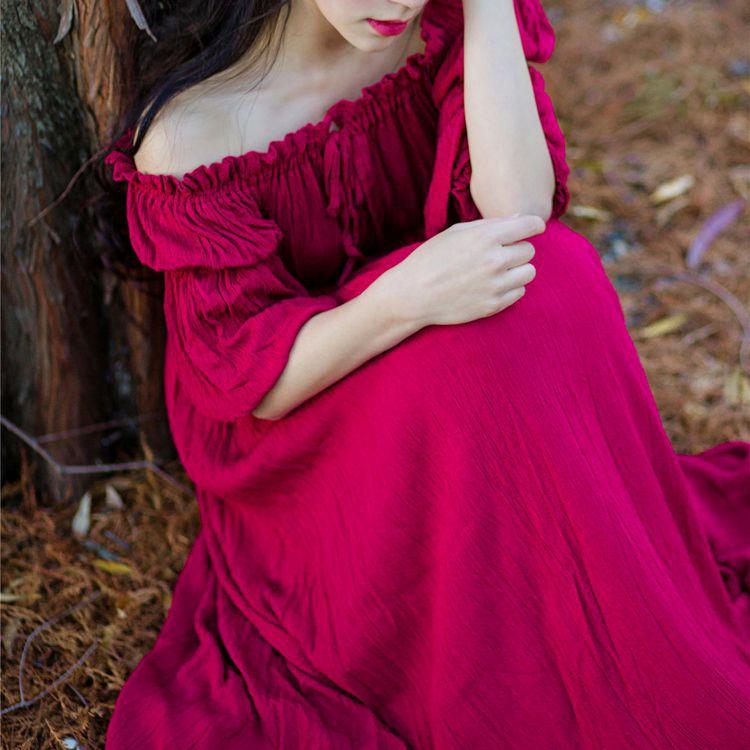 Couleur Dame Fille Printemps Vin Solide Long Rouge Abricot Robes Mori Style Mignon L'épaule 2 Maxi Vintage Angleterre 1 Cou 2018 De Slash F13JlcTK