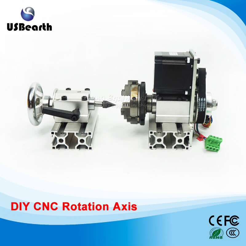 DIY CNC 4th axis Rotary axis with chuck for cnc router wood engraving machine work cnc 5 axis a aixs rotary axis three jaw chuck type for cnc router