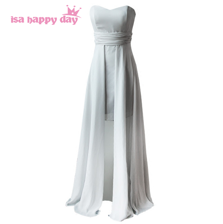 long chiffon gray adult 2020 bridesmaid women formal sexy dress bridesmaids party dresses with slits for weddings B3543