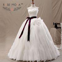 Rose Moda 3D Xù Organza Wedding Dress Removable Burgundy Sash Bóng Gown Cathedral Train Vestidos de Noiva Bất Hình Ảnh