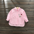Children Cloth Girls Blouse for Teenagers Badge Patch Patchwork Striped Baby Girls White Blouse School Shirts Casual Kids Shirts
