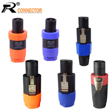 цена на 10pcs/lot 4 Pin Speakon Male Plug NL4FC 4 Pole PowerCon Plug Audio Loudspeaker Amplifier Cable Connector Wholesales