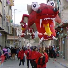Hot sale 10m length several people holding large inflatable dragon costume for parade events