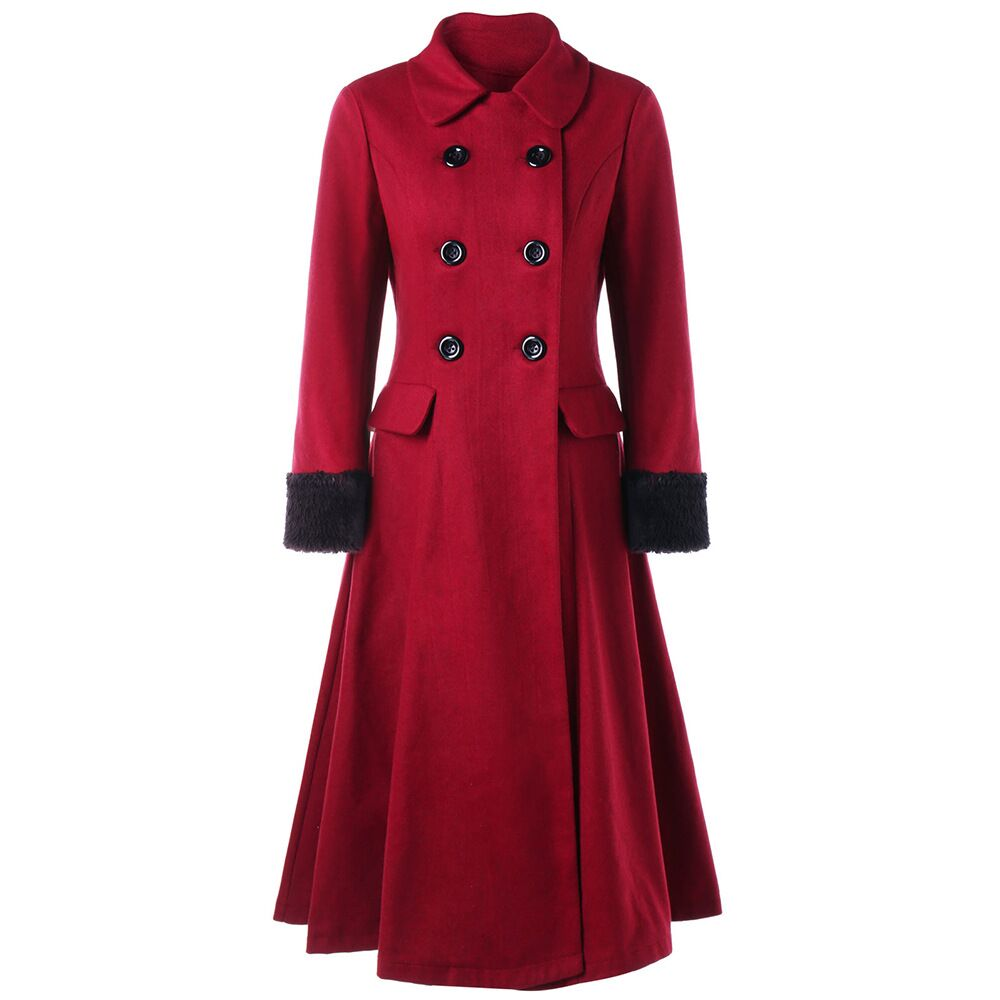 CFYH Winter Wool Coat Women 2018 New Warm Fur Parka Plus Size S-XXL Red Warm Loose Woolen Overcoat Cashmere Outerwear 2016 new aarrivals fashional women hoody long style warm winter coat women plus size s xxl free shipping