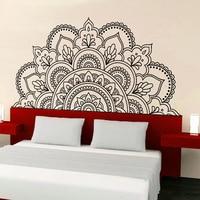 New Arrival Lotus Meditation India Buddha God OM Symnol Namaste Mandala Yoga Art Wall Sticker Vinyl Interio Bed Room Home Decor