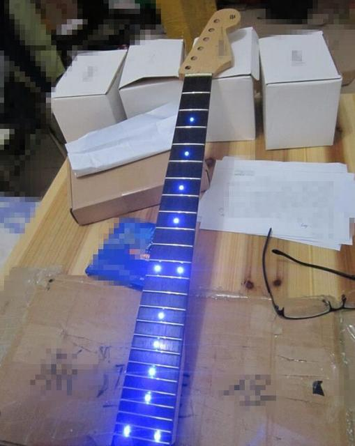 Cheap Musical instruments inlay LED dots Rosewood Fretboard Canadian maple Electric Guitar Neck Wholesale Guitar Parts accessories