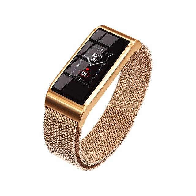 Intelligente wristband Del Braccialetto Impermeabile Misuratore di Pressione Sanguigna Bluetooth Oro Argento del Metallo della vigilanza Inseguitore di Fitness per le donne fidanzata