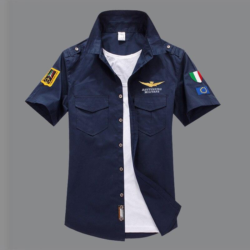 Модная повседневная мужская рубашка, летняя, Air Force One, рубашка с коротким рукавом, хлопковые рубашки, плюс размер, Азия, WA795 - Цвет: Dark Blue