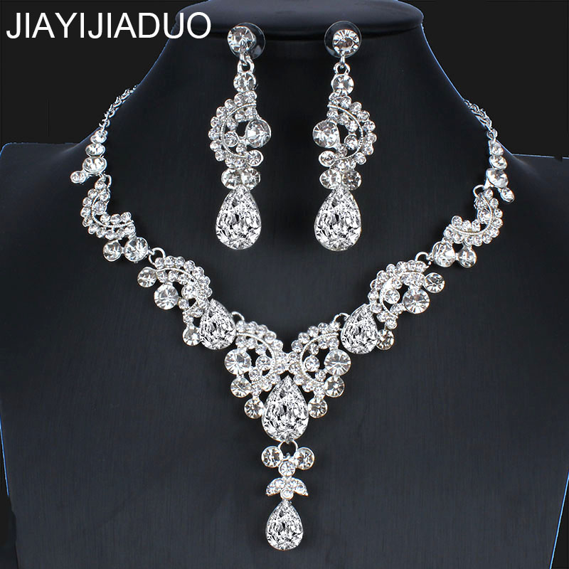 Necklace Earrings Jewelry Bridal-Dress-Accessories Silver-Color Women New Jiayijiaduo