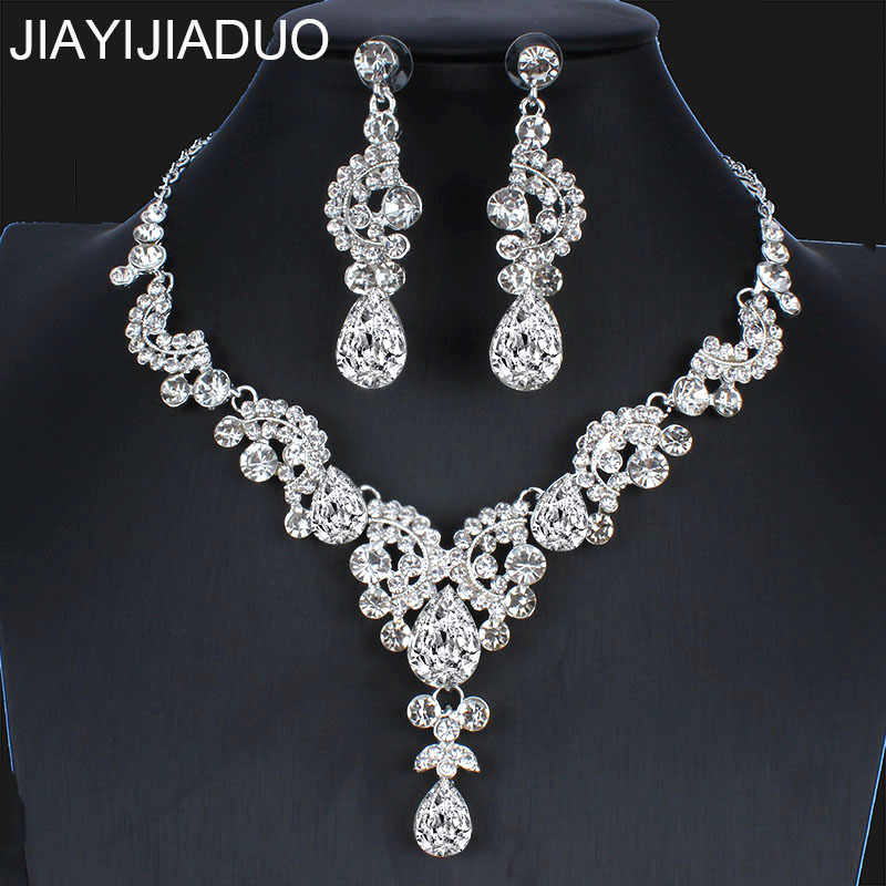 jiayijiaduo  New Wedding Jewelry Set Silver Color Necklace Earrings for Women Bridal Dress Accessories Jewelry