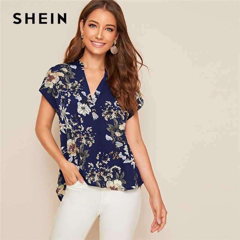 SHEIN Top Boho Blouses Cap-Sleeve Notch-Collar Asymmetrical Floral-Print V-Neck High Low title=