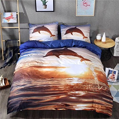 3 Pcs 3D Bedding Set Dolphin Jumping out of Ocean Design Duvet Cover Set3 Pcs 3D Bedding Set Dolphin Jumping out of Ocean Design Duvet Cover Set