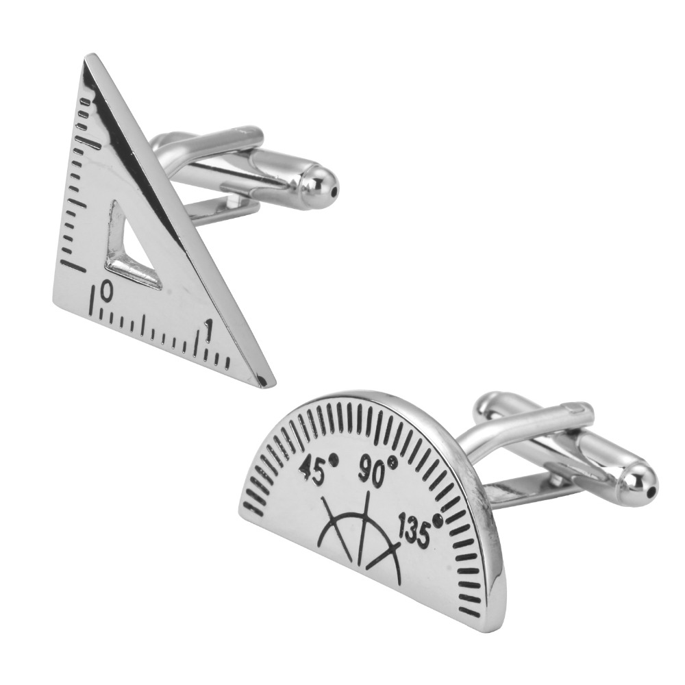 Men's fashion beads mathematical arithmetic silver triangle protractor cufflinks French fashion shirt sleeve cuff links