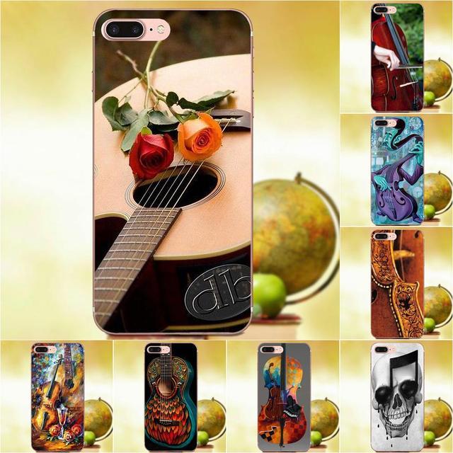Acessórios Qdowpz TPU Macio Caso Vivid Violino E Musical Para Apple iPhone 4 4S 5 5C 5S SE 6 6 s 7 8 Plus X XS Max XR