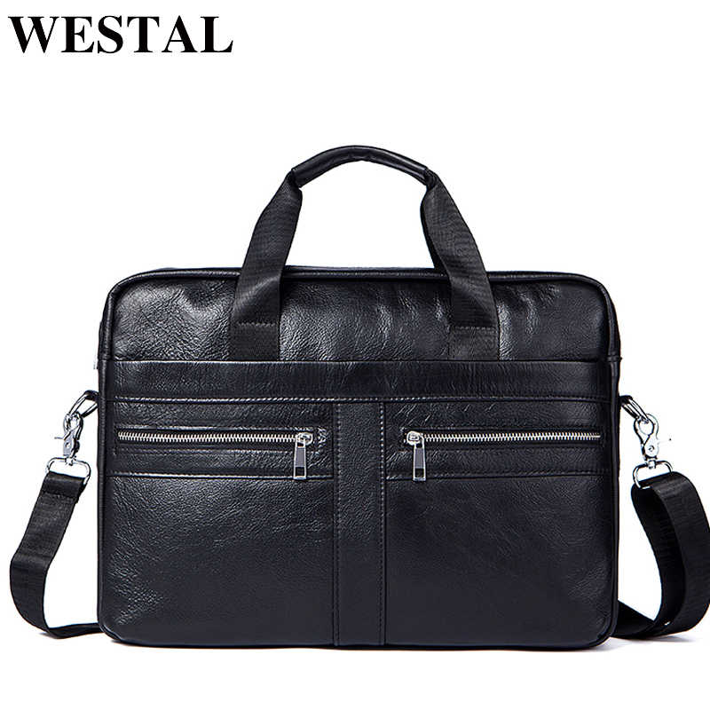 690da7a1e6c9 WESTAL портфель мужской сумка мужская натуральная кожа через плечо сумки  мужские на ремне деловой кожаные портфели
