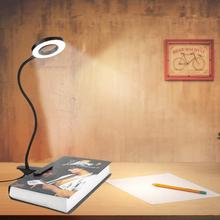 LED Indoor USB Chargeable Desk Light Dimmable 360 Degree Flexible Clip-on Lamp For Bed Headboard