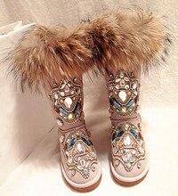 Vente chaude Coloré Cristal Australien Bottes Femmes Glissement Sur Plat Neige Chaussons Main De Fourrure D'hiver Chaud Chaussures Femme Zapatos Mujer(China (Mainland))
