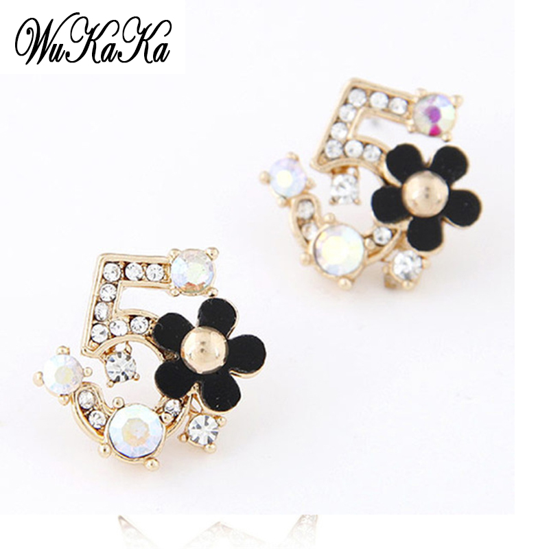 Korea Fine Fresh Flower Czech Number Five Earring Crystal Rhinestone Jewelry CC 5 Earrings For Women Stud Earrings Gifts