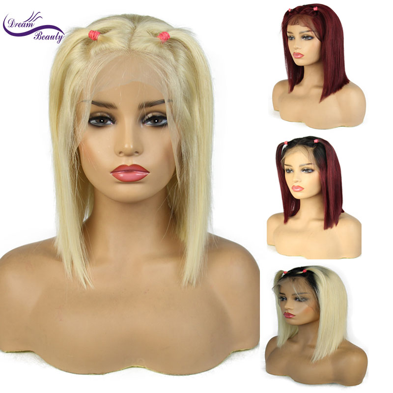 Dream Beauty 613 Blonde Lace Front Wig Pre Pluck Natural Hairline Brazilian Remy Human Hair ombre
