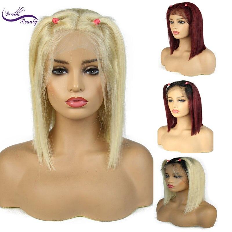 Dream Beauty 613 สีบลอนด์ลูกไม้ด้านหน้าวิกผม Pre Plucked เส้นผมธรรมชาติ Brazilian Remy Human Hair ombre สีบลอนด์สั้น Bob Wigs-ใน วิกลูกไม้ผมจริง จาก การต่อผมและวิกผม บน AliExpress - 11.11_สิบเอ็ด สิบเอ็ดวันคนโสด 1
