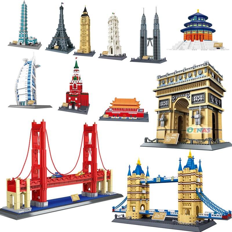 호환 건축 빅 벤 노트르담 드 파리 에펠 탑 건설 조립 된 빌딩 블록 벽돌 diy 아이 선물 완구-에서블록부터 완구 & 취미 의  그룹 1
