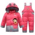 2015 Новый набор детская одежда сгущает белая утка вниз перо куртку детей зимние комбинезон дети парки Подходит 1-3 лет
