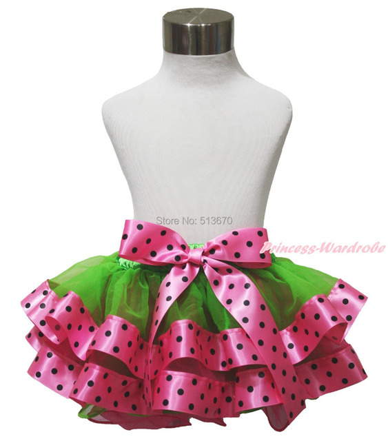 Green Hot Pink Black Polka Dots Trimmed Tutu Baby Girl Pettiskirt & Bow 1-8Year MADRE0027