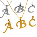 1 PCS Women Men Lovers Gift Gold /silver  Alphabet Letter Name Initial Chain stainless steel Pendant Necklace Fashion Jewelry