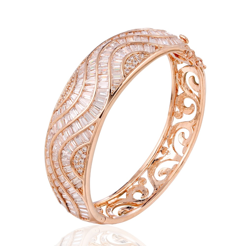 цены GrayBirds New Arrival Rose Gold Color With Cubic Zirconia Luxury Bangles Bracelets High Quality Copper Jewelry For Lady QTB006