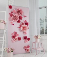 23 Dev için Kağıt Çiçekler + 4 Kelebek + 7 bırakır kızın parti düğün dekor veya fotoğraf stand backdrop veya Düğün arka planında