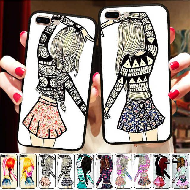 cheaper 7767e f90f1 Minason Girls Best Friends Forever BFF Case For iPhone X 8 6 6S 7 Plus 5 S  5S XR XS Max SE Silicone Matching Phone Couple Cover