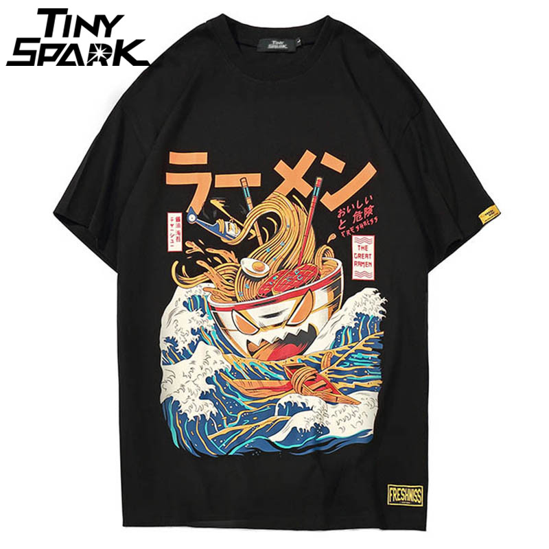 Japanese Harajuku T-Shirt Men 2018 Summer Hip Hop T Shirts Noodle Ship Cartoon Streetwear Tshirts Short Sleeve Casual Top Cotton