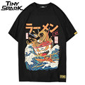 Japanese Harajuku T-Shirt Men 2018 Summer Hip Hop T Shirts Noodle Ship Cartoon Streetwear Tshirts Short Sleeve Casual Top Cotton