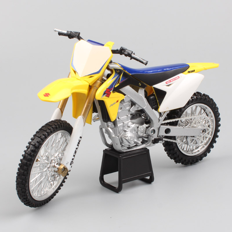 US $16 2 36% OFF|1/12 Scale Newray Suzuki RMZ 450 off road motorcycle  motocross racing dirt bike gift Die cast modeling toys for adult  collection-in