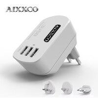 AIXXCO 5V3. 4A 3 USB Şarj Seyahat Duvar Şarj Adaptörü Taşınabilir AU ABD AB İNGILTERE Tak Akıllı Cep Telefonu Şarj iphone Tablet