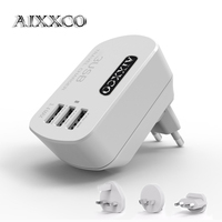 AIXXCO 5V3.4A 3 USB Charger Travel Wall Charger Adapter Portable AU US EU UK Plug Smart Mobile Phone Charger for iPhone Tablet