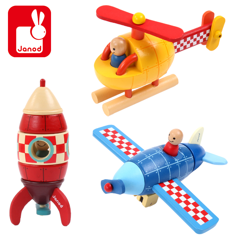 Candice guo wooden toy creative Janod wood block assemble magnetic model helicopter rocket airplane plane children baby gift 1pc janod металлофон 12 нот janod