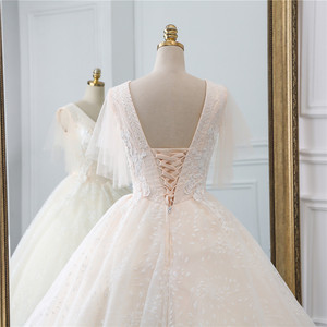 Image 5 - Fansmile vestido de boda de tul, Vintage, de fiesta de princesa, encaje de calidad, de talla grande, para novia, FSM 519F, 2020