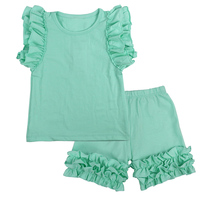 Girls Summer Clothes Kids Clothing Ensemble Fille 2017 Brand Baby Girls Sets Ruffle Tank Tops+Shorts Children Outfits 10 Colors