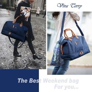Image 1 - Mealivos Canvas Waterproof Travel Tote Duffel shoulder handbag Weekend Bag with Shoe Compartment